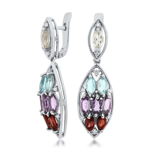 925 Silver Earrings with Amethyst, Garnet, Blue Topaz