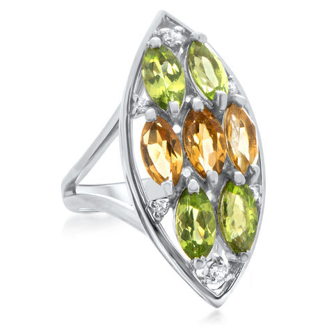 875 Silver Ring with Peridot, Yellow Citrine