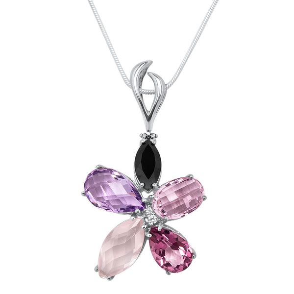 875 Silver Pendant with Onyx, Pink Quartz, Amethyst, Pink Topaz