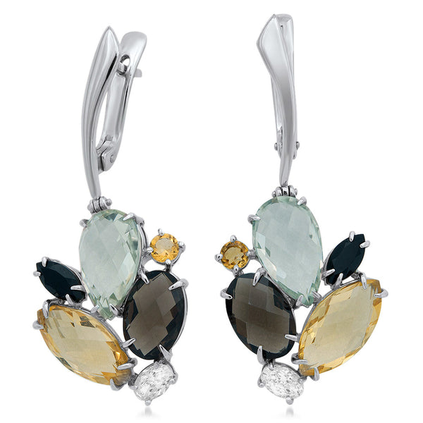 875 Silver Earrings with Prasiolite, Yellow Citrine, Smoky Quartz, Onyx