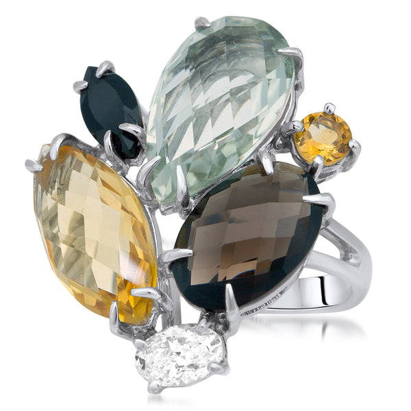 875 Silver Ring with Prasiolite, Yellow Citrine, Smoky Quartz, Onyx