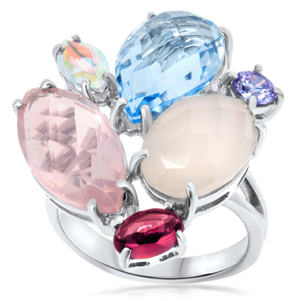 875 Silver Ring with Pink Quartz, Blue Quartz, Garnet, Mystic Topaz