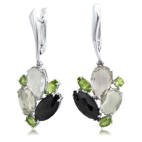 875 Silver Earrings with Smoky Quartz, Peridot, Onyx, Yellow Citrine