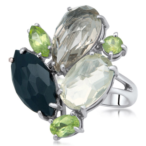 875 Silver Ring with Smoky Quartz, Peridot, Onyx, Yellow Citrine