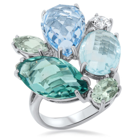 875 Silver Ring with Blue Topaz, Green Quartz, Blue Quartz, Prasiolite