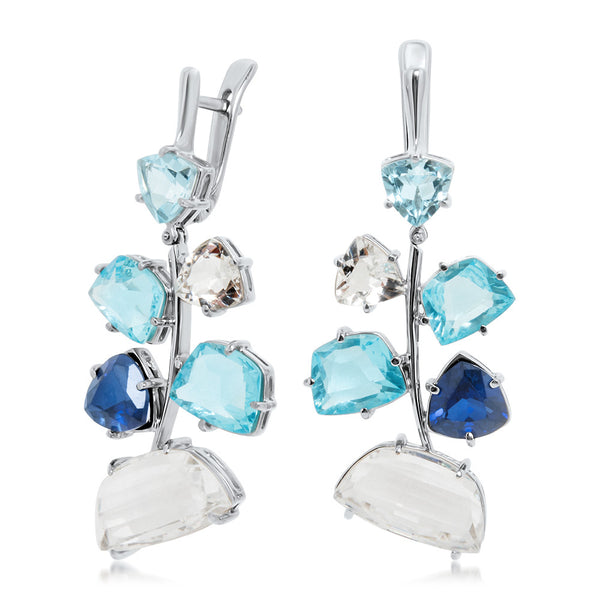875 Silver Earrings with Rock Crystal, Blue Topaz, Blue Sapphire