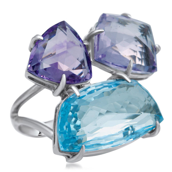 875 Silver Ring with Blue Topaz, Amethyst