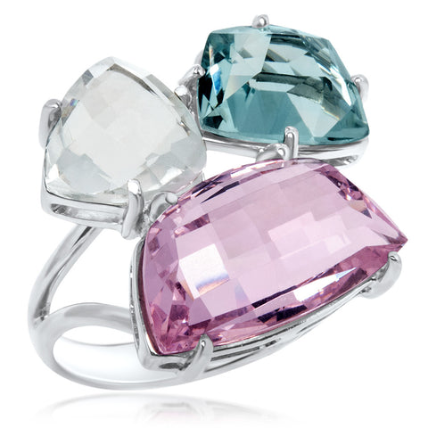 875 Silver Ring with Pink Quartz, Rock Crystal, Blue Topaz