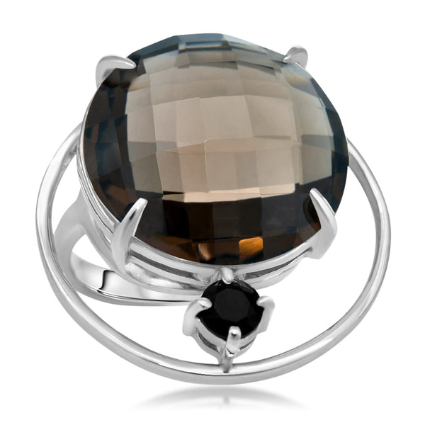 875 Silver Ring with Smoky Quartz