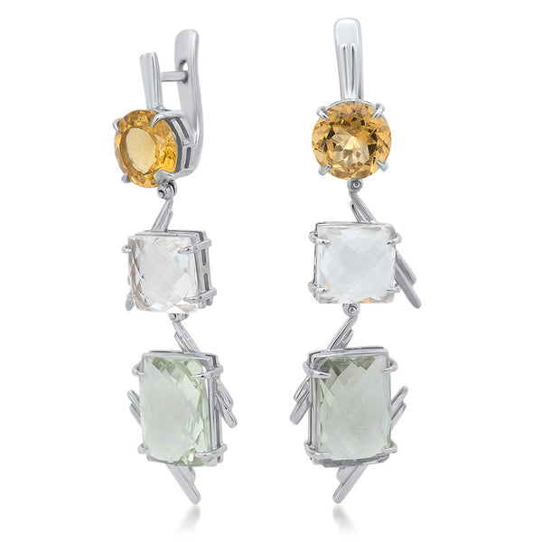 875 Silver Earrings with Yellow Citrine, Rock Crystal, Prasiolite