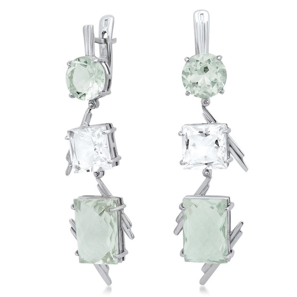 875 Silver Earrings with Prasiolite, Rock Crystal
