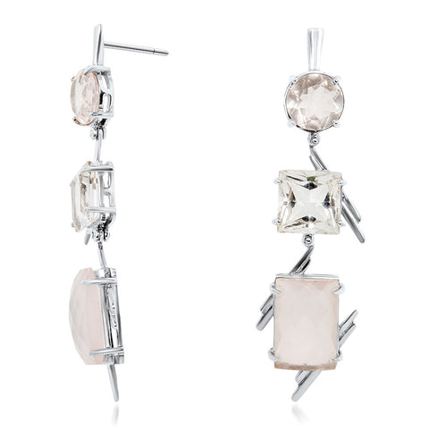 875 Silver Earrings with Pink Quartz, Rock Crystal