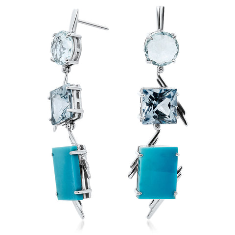 875 Silver Earrings with Turquoise, Blue Topaz