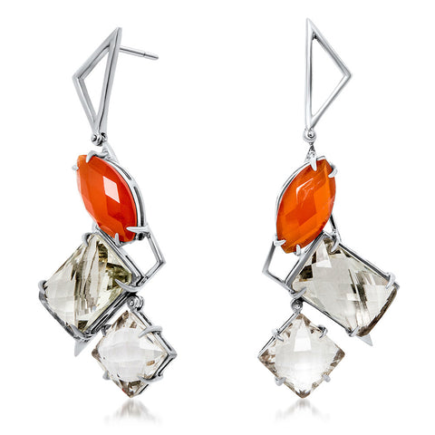 875 Silver Earrings with Carnelian, Prasiolite, Rock Crystal