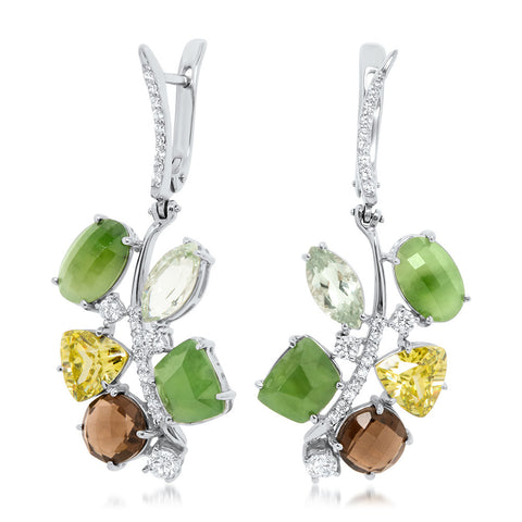 875 Silver Earrings with Nephrite, Prasiolite, Smoky Quartz, Green Citrine