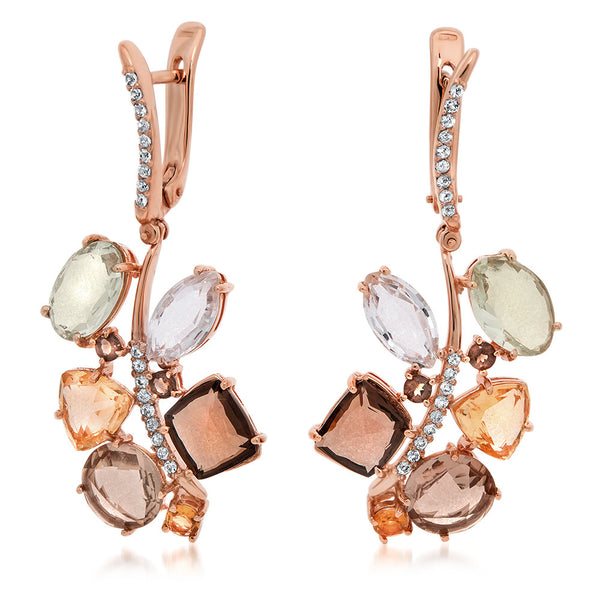 14K Pink Gold Earrings with Smoky Quartz, Prasiolite, Rock Crystal, Yellow Citrine