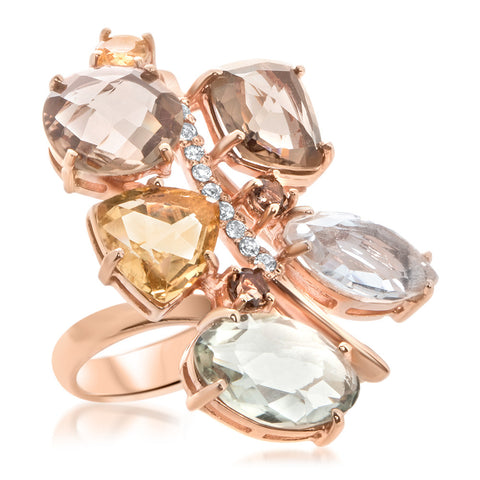 14K Pink Gold Ring with Smoky Quartz, Prasiolite, Rock Crystal, Yellow Citrine