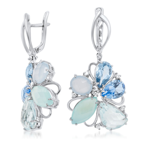 875 Silver Earrings with Blue Agate, Teal Agate, Blue Topaz, Blue Quartz