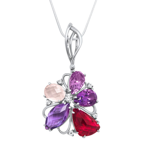 875 Silver Pendant with Amethyst, Pink Quartz, Red Quartz