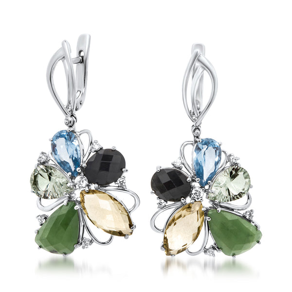 875 Silver Earrings with Nephrite, Blue Topaz, Onyx, Prasiolite, Green Citrine