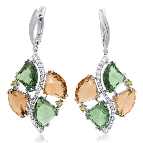 875 Silver Earrings with Yellow Citrine, Green Quartz