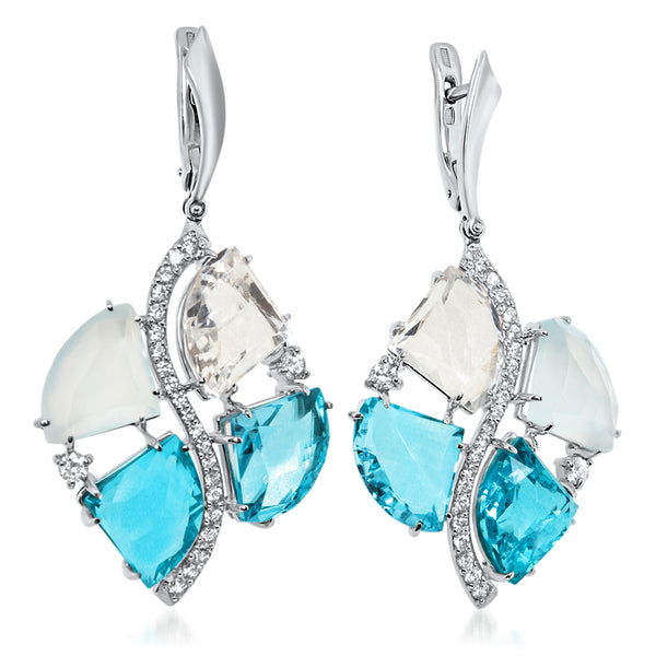 875 Silver Earrings with Rock Crystal, Blue Agate, Blue Topaz