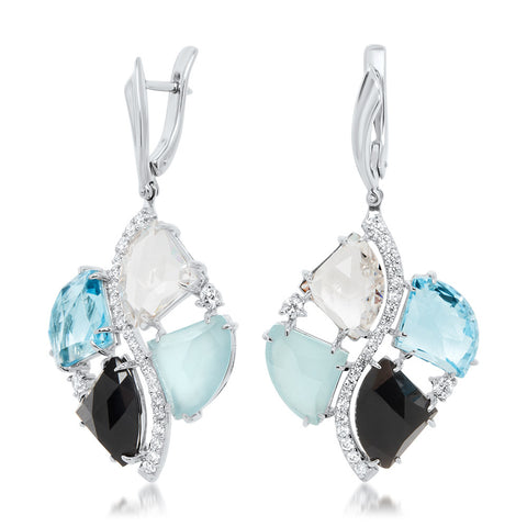 875 Silver Earrings with Rock Crystal, Blue Topaz, Blue Agate, Onyx