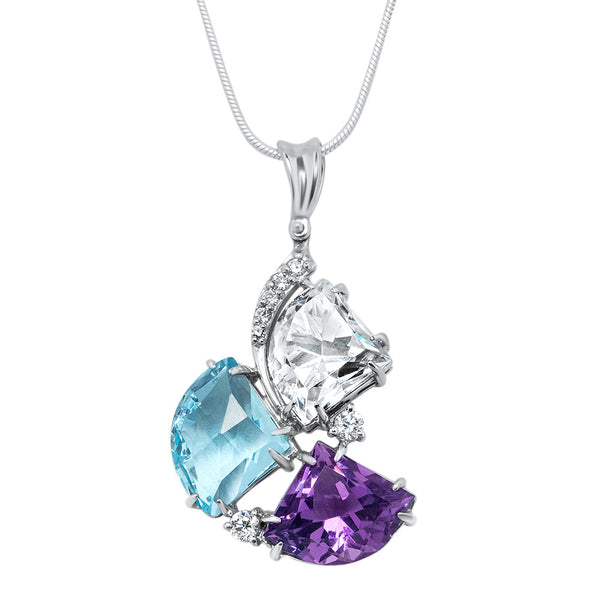 875 Silver Pendant with Rock Crystal, Blue Topaz, Amethyst