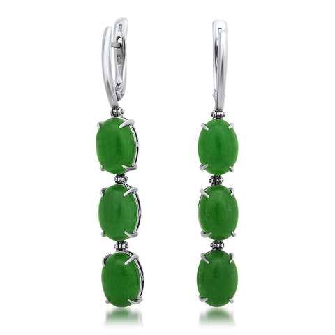 875 Silver Earrings with Green Agate