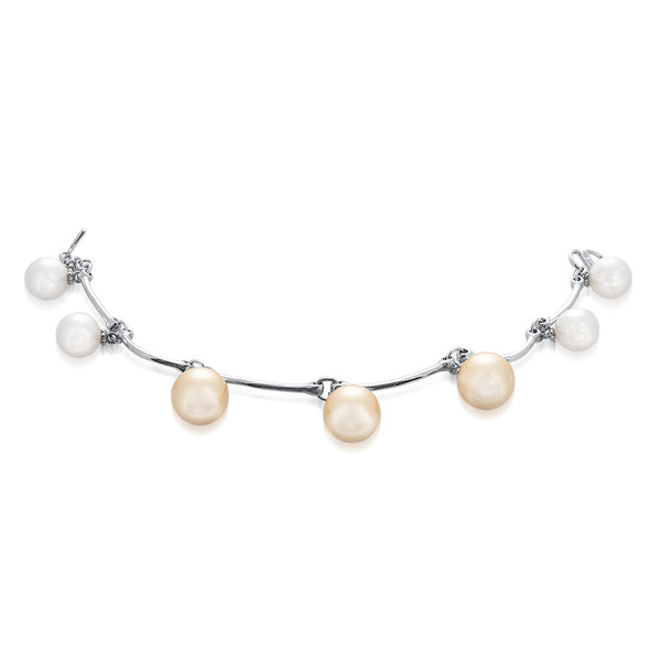 925 Silver Bracelet with Yellow Shell Pearl, White Shell Pearl
