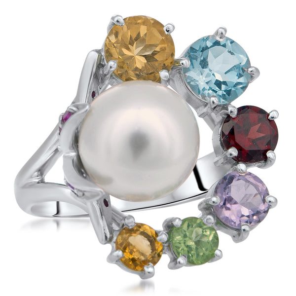 875 Silver Ring with White Shell Pearl, Blue Topaz, Garnet, Amethyst, Yellow Citrine, Peridot