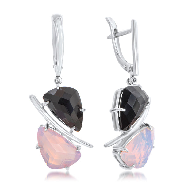 875 Silver Earrings with Onyx, White Opal