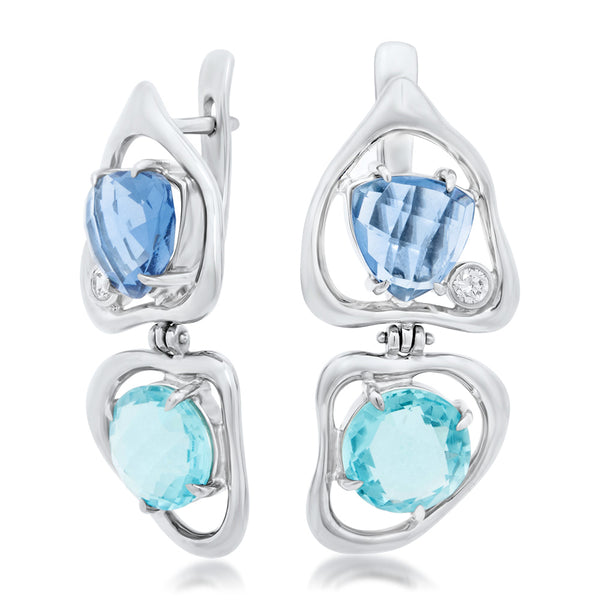 875 Silver Earrings with Blue Topaz, Tanzanite