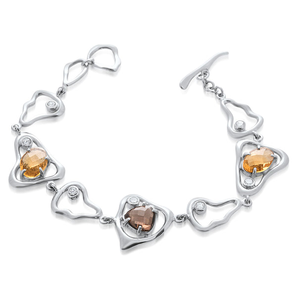 925 Silver Bracelet with Smoky Quartz, Yellow Citrine