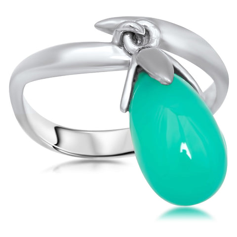 875 Silver Ring with Chrysoprase