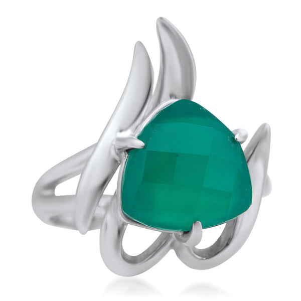 875 Silver Ring with Green Agate
