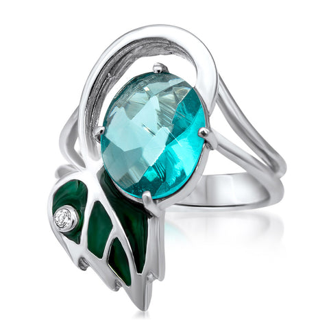 875 Silver Ring with Blue Quartz, Green Enamel