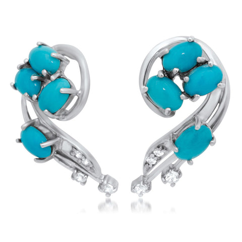 875 Silver Earrings with Turquoise