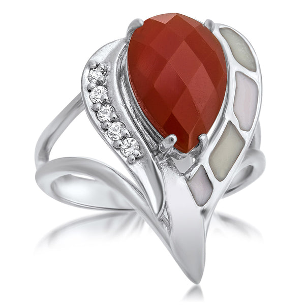 925 Silver Ring with Carnelian, White Enamel