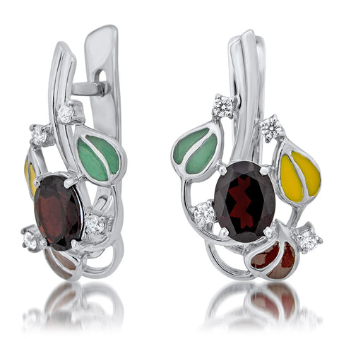 875 Silver Earrings with Garnet, Brown Enamel, Green Enamel, Yellow Enamel