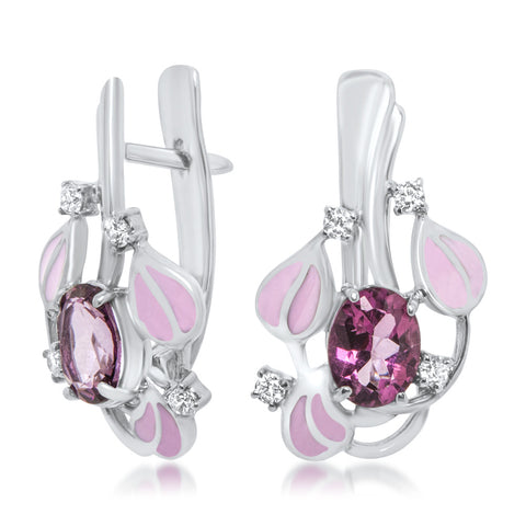 925 Silver Earrings with Pink Topaz, Pink Enamel