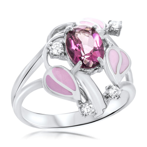 925 Silver Ring with Pink Topaz, Pink Enamel