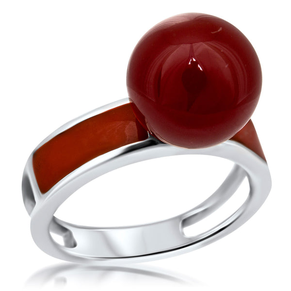 925 Silver Ring with Carnelian, Orange Enamel