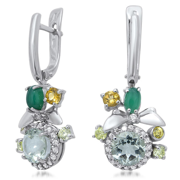 875 Silver Earrings with Prasiolite, Green Chalcedony, Yellow Citrine