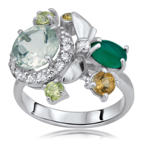 875 Silver Ring with Prasiolite, Green Chalcedony, Yellow Citrine