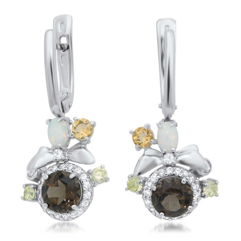 875 Silver Earrings with Smoky Quartz, White Opal