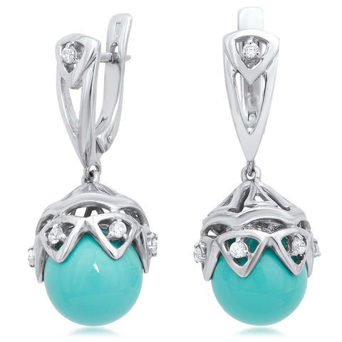 875 Silver Earrings with Blue Shell Pearl