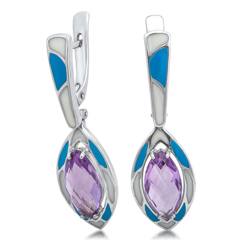 925 Silver Earrings with Amethyst, Blue Enamel, White Enamel