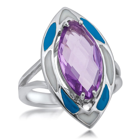 925 Silver Ring with Amethyst, Blue Enamel, White Enamel