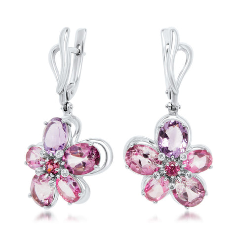 875 Silver Earrings with Pink Topaz, Amethyst, Garnet